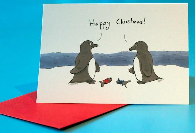 Penguins Christmas card | Jemima Kingsley