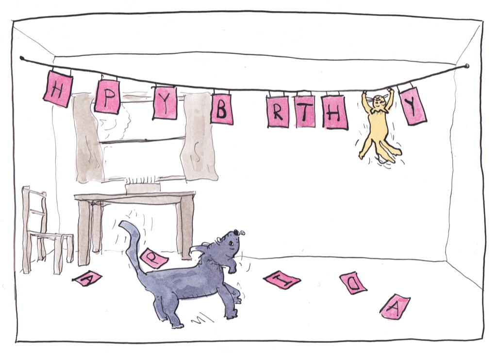 Cat and dog birthday card – Birthday Card from Dog